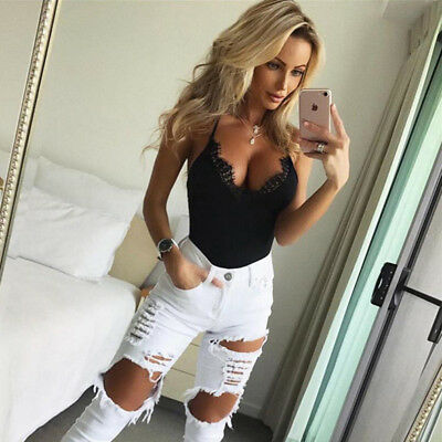 AU7.47 • Buy Women Lace T-Shirts Sexy Tops V- Neck Solid Slim Clothes For Ladies Elegant CP