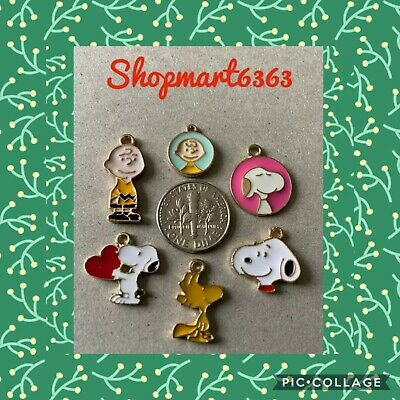 $ CDN8.05 • Buy ❤️ Lot Of 6 Peanuts Snoopy Woodstock Charlie Brown ❤️ Charms  /Brand New #2