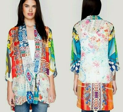 $149.99 • Buy Johnny Was Silk Mix Print Kimono Jacket 2X Duster,Fiery Geo/Lovely Floral Prints
