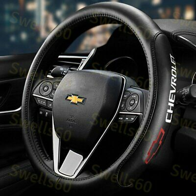 $35.99 • Buy Red 15  Diameter Car Auto Steering Wheel Cover Genuine Leather CHEVROLET CHEVY