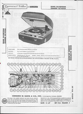 $ CDN3.01 • Buy 1967 PHOTOFACT Sears Silvertone 137.93124 Record Player With Amplifier #2268
