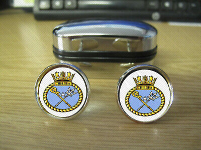 £24.99 • Buy Hms Chelsea Cufflinks (20mm) Round Brass Rhodium Plated With Strong Clasps