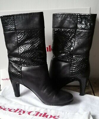 See By Chloe Designer Black Leather Snakeskin Boots 37 / 4 • 80£