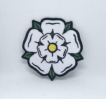 £2.49 • Buy White, Black And Red Yorkshire Rose Iron On Sew On Embroidered Patch