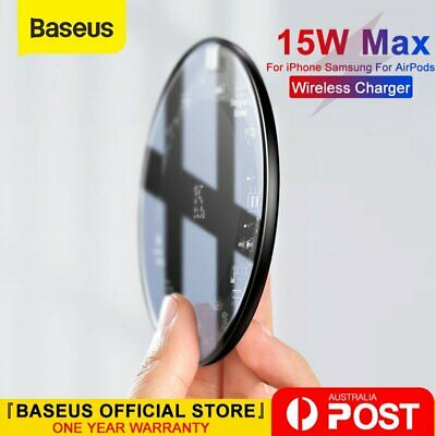 AU25.99 • Buy Baseus 15W Qi Wireless Charging Fast Charger Pad For IPhone Samsung For Airpods