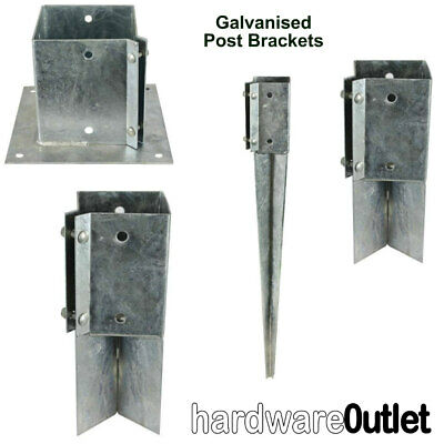 GALVANISED Timber Fence Post Fixing Bracket Concrete In Bolt Down Repair & Drive • 7.70£