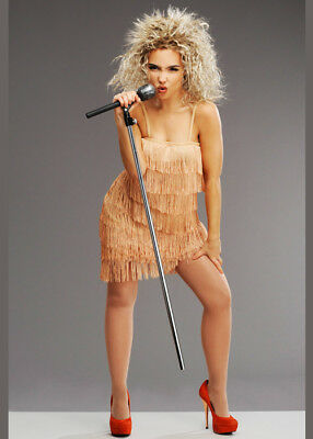 Ladies 1980s Tina Turner Style Fringed Costume With Wig • 40.49£