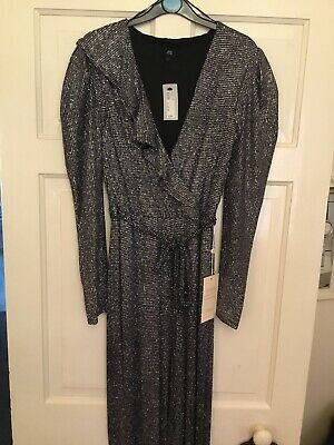 River Island Silver Glitter Jump Suit Size 10 Rrp £70 • 4.98£