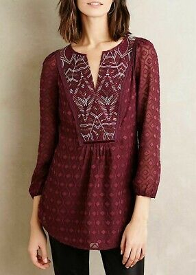 $ CDN29.15 • Buy Anthropologie Madrian Peasant Top Size Medium M One September Burgundy Blouse