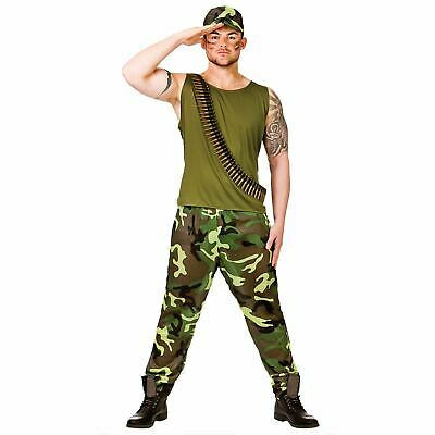 Adults Mens Army Soldier Guy Military Forces Fancy Dress Up Party Costume Outfit • 18£