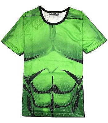 Hulk T-Shirt ( Superhero Fancy Dress Incredible Hulk Cosplay Unique Mesh Tee ) • 15.99£