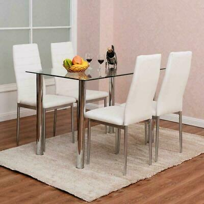 $146 • Buy 5 Piece Dining Set Glass Table  & 4 Chairs White PU Leather Kitchen Furniture
