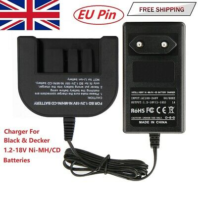 Charger For Black Decker A1718 A18 A1712 A12 A14 1.2V-18V Ni-MH/Ni-CD Battery EU • 17.91£