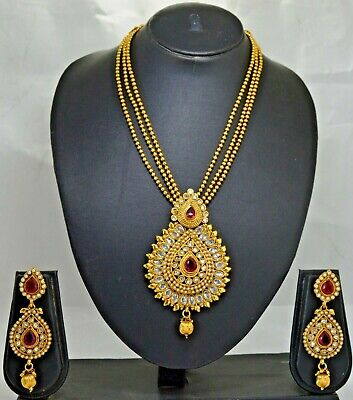 $9.99 • Buy Indian Ethnic Kundan Bridal Bollywood Fashion Traditional Necklace Jewelry Set