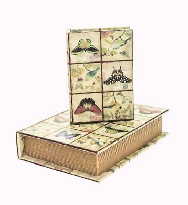 Set Of 2 Vintage Retro Butterfly Decorative Wooden Book Storage Hiding Box • 11.99£