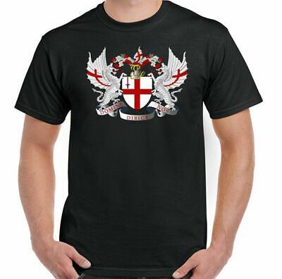 ST GEORGES DAY T-SHIRT, England Templar Dragon London Coat Of Arm Football Rugby • 7.99£