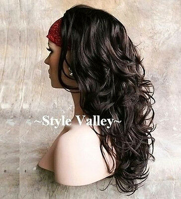 $47.83 • Buy Dark Brown 3/4 Fall Hairpiece Long Wavy/Curly Layered Half Wig Hair Piece #4