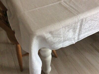 "Antique French Damask Linen Tablecloth Classic Fern Motif  84"" By 52"" Lovely • 29.95£"
