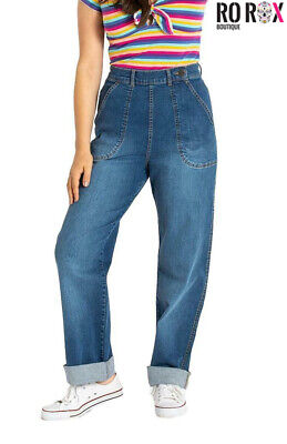 Hell Bunny Cassidy Weston Denim Jeans 1950's Rockabilly Vintage Trousers Pants • 37.49£