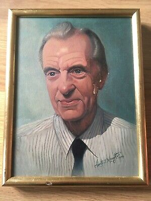 VINTAGE Realistic Male Portrait Painting Oil On Canvas Signed + Dated • 55£
