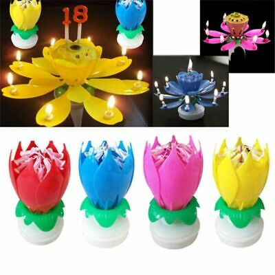 $ CDN13.38 • Buy Blossom Lotus Flower Candle Cake Sparkle Cake Topper Birthday Party Decorations