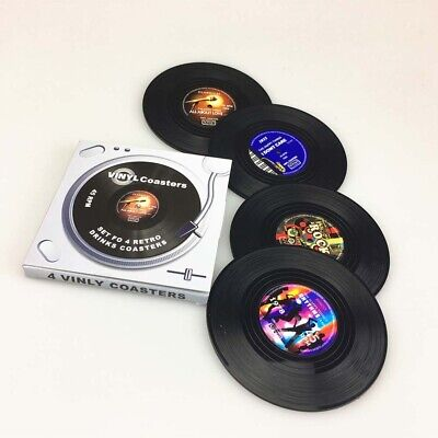 4pcs Vintage Vinyl Record Drinks Coasters Cup Mat Coffee Placemat Home Decor • 3.59£