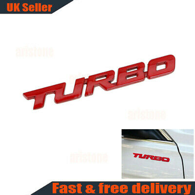 1X Car 3D Red TURBO Letter Sticker Metal Emblem Badge Auto Styling Decal Logo • 3.84£