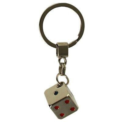 Dice With Coloured Spots Metal Key Ring • 4.99£