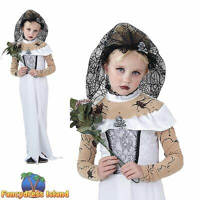 KIDS HALLOWEEN SCARY ZOMBIE BRIDE - Age 3-13- Girls Childs Fancy Dress Costume • 12.09£