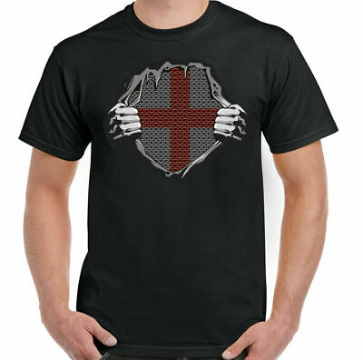 ENGLAND T-SHIRT, St Georges Day Football Rugby Templar Fancy Dress Stag Doo Tee • 9.94£