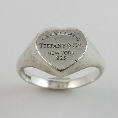 Sterling Silver 925 Return To Tiffany Collection Heart Signet Ring Tiffany & Co • 99.99£