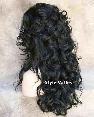 $46.70 • Buy Natural Black 3/4 Fall Hairpiece Layered Long Curly Half Wig Cap Hair Piece NWT