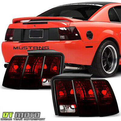 $95.99 • Buy 1999-2004 Ford Mustang Red Smoked Tail Lights Rear Brake Lamps Pair Left+Right