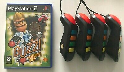 Ps2 - Buzz Sports Quiz + Set Of 4 Wired Buzzers - PlayStation 2 • 17.97£