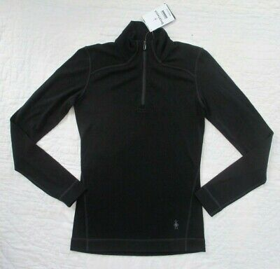 $74.99 • Buy SMARTWOOL Women's Merino 250 Base Layer 1/4 Zip BLACK Wool Top MEDIUM M  NWT