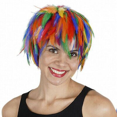 $17.95 • Buy Wig Rooster Hackle Feathers Rainbow  Halloween Costume Punk Retro New