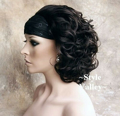 $39.94 • Buy CLASSIC Brown Black 3/4 Fall Hairpiece Short Curly Half Wig Hair Piece #2