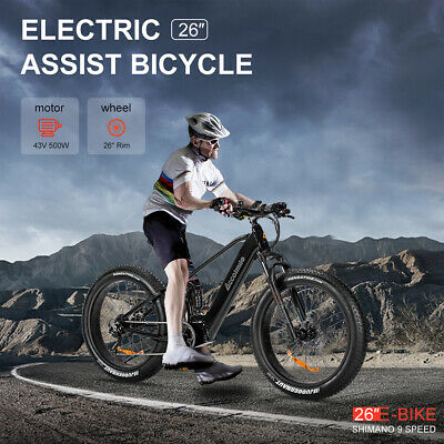 $1950.99 • Buy 26'' Electric Mountain Bicycle Fat Tire E-bike 9 Speed 43V 500W Mid Drive Motor