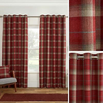 Red Eyelet Curtains Blackout Tartan Check Ready Made Cosy Ring Top Curtain Pairs • 33.95£