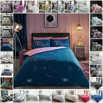 Duvet Cover Sets With Pillowcases Single Double King Super King Size Quilt Cover • 14.99£