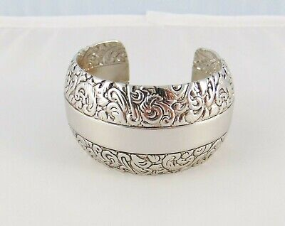 $ CDN25.26 • Buy Lia Sophia Concord Cuff Bracelet 6.5  Antiqued Silver Plating 1.5  Wide Nwot