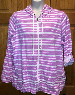$19.99 • Buy NWT TEK GEAR Womens Striped Zip-Front Jacket W/Roll-Up Sleeves, Pink & White $44
