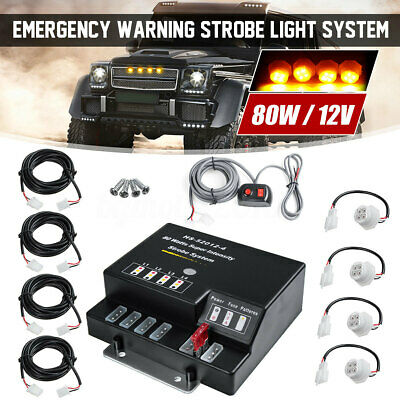 $51.29 • Buy 80W 4 LED Bulbs Hide Away Emergency Hazard Warning Flashing Strobe Light Kit 12V