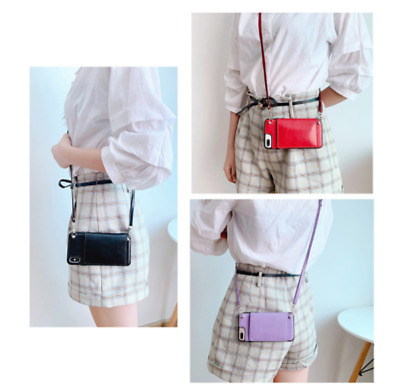 AU10.37 • Buy Crossbody With Strap Card Wallet Holder Bag Flip PU Leather Case Cover For Phone
