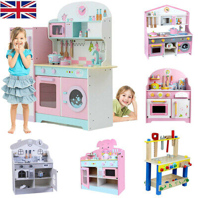 Large Kids Wooden Play Kitchen Children Tool Work Bench Boys Girls Role Play Toy • 25.99£