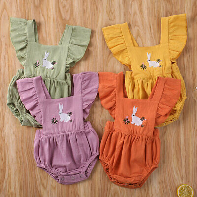 UK Easter Bunny Clothes Newborn Kids Baby Girl Romper Bodysuit Playsuit Outfits • 4.95£