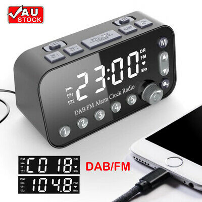 AU31.97 • Buy Digital Alarm Clock DAB & FM Alarm Clock Radio 2 USB Charging Port LCD New AU