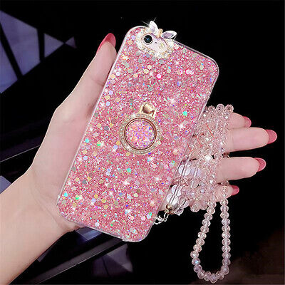 AU7.45 • Buy Crystal Rhinestone With Strap Bling Ring Stand Glitter Phone Case Cover Soft TPU
