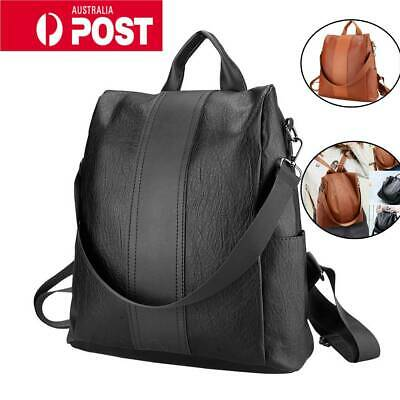 AU18.69 • Buy Women's Leather Backpack Anti-Theft Rucksack School Shoulder Bag Black/Brown AU