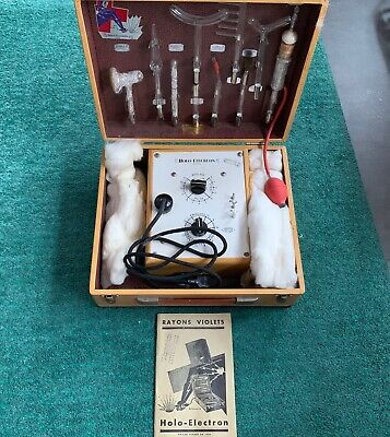 Holo Electron Violet Ray Machine, Antique, In Box With 9 Glass Wands • 260£